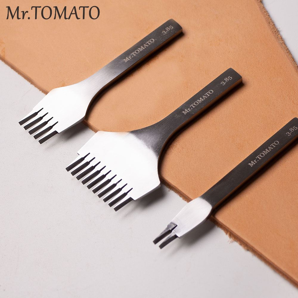 Polished Tooth Prongs Leather Stitching Punch Tool Chisel Leather Hole Punches Tools Set Craft Polished Prongs Lacing Stitch DIY