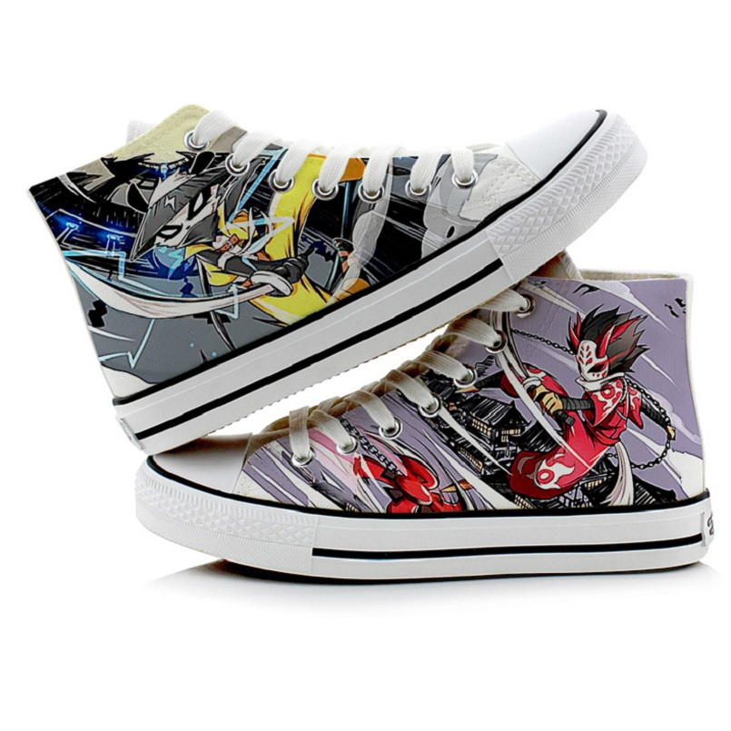 Unisex Anime Graffiti NINJA Punk Rock Lovers 3D hand-painted NINJA Saint Seiya Shoes duck shoes plimsolls rope soled shoes