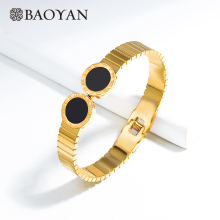 Baoyan Luxury Stainless Steel Bangle Bracelets Gold Silver Wristband Bangles Round Black Acrylic Cuff For Women