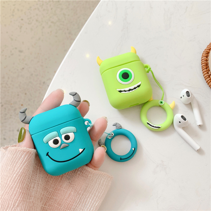 3D Cute Cartoon Monsters University Mike Sullivan Lovely Minnie Mickey Mouse Cover Cases For Apple Bluetooth Headset Airpods 1/2