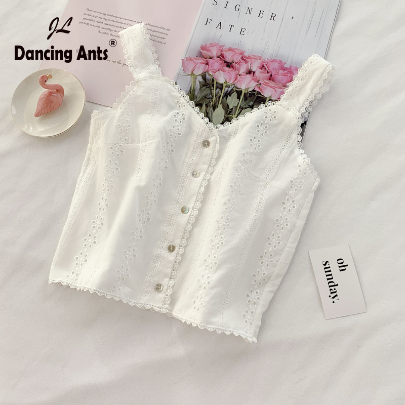 Woman Vest Sexy Strap V-neck Sleeveless Lace Crop Top Solid Hollow Out Backless Button Loose Female Short Tank Tops For Party
