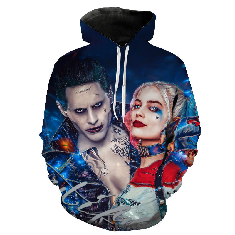 Joker And Harley Quinn Hoodies Men Women Children Jared Leto And Maegot Robbie Hoodie Sweatshirt Boy Girl Cool Hooded Pullover