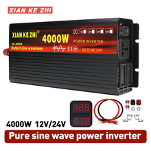 Inverter 12V/24V 220V 3000/4000W Voltage transformer Pure Sine Wave Power Inverter DC12V to AC 220V Converter+2 LED
