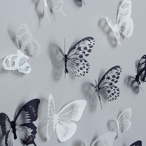 Image 1 - 36pcs 3D Crystal Butterfly Wall Stickers Creative Butterflies with Diamond Home Decor Kids Room Decoration Art Wall Decals