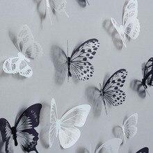 Pegatinas de pared de mariposa de cristal 3D, 36 Uds., mariposas creativas con decoración del hogar con diamantes, calcomanías de pared de arte para decoración de habitación de niños