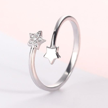 2019 New 100% 925 Sterling Real Silver Fashion Women 2 Star Rings Size 5 6 7 Wonderful Gift For Girls Teens Lady's штоф crystal bohemia 750 мл