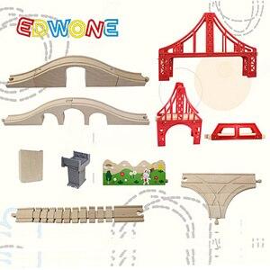 Image 3 - EDWONE buk Bridge Rail Track akcesoria nadające się do drewniany pociąg edukacyjny chłopiec/zabawka dla dzieci wiele torów