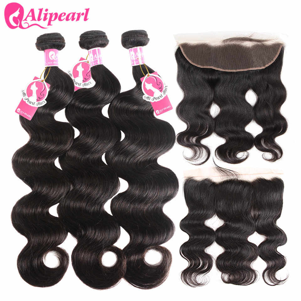 AliPearl Brazilian Body Wave 3 Bundles With Frontal Closure Brazilian Hair Weave Bundles With Frontal 13x4 Remy Hair Extension