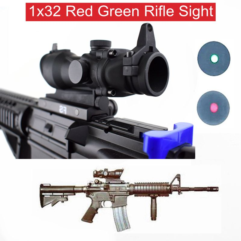 Hunting Tactical Optics Riflescope ACOG Type 1x32 Red Green Dot Rifle Sight Scope With 22mm Mount