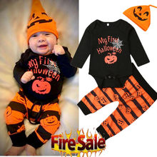 Baby Clothes Halloween Set Black Pumpkin Print Long Sleeve Baby Girls Rompers Set Orange Striped Newborn Set Baby Boys Outfits(China)
