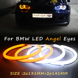 Image 1 - الأبيض و العنبر القطن المزدوج اللون LED عيون الملاك عدة خاتم على شكل هالة DRL بدوره إشارة مصابيح لسيارة BMW E90 E91 E46 4 باب سيدان غير العارض