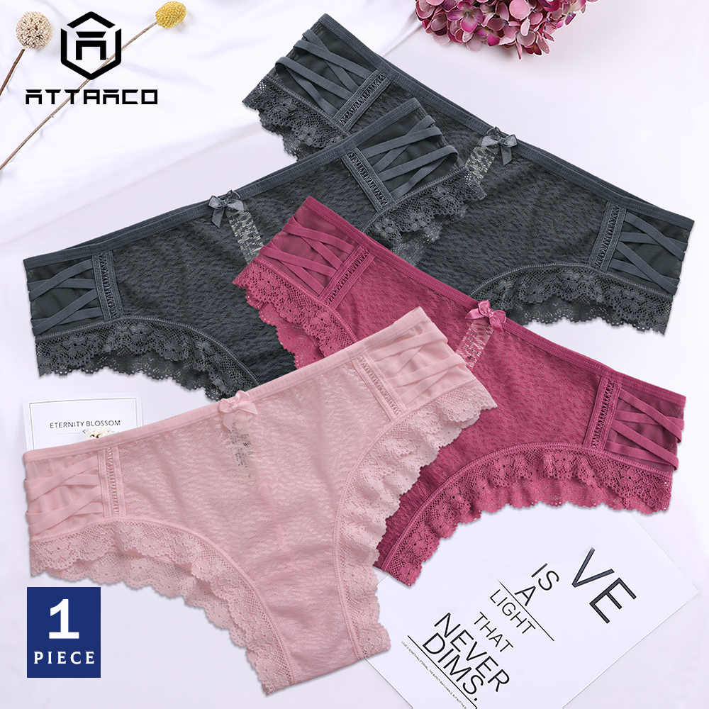 ATTRACO Underwear Panties Briefs 1 PCS Women's Thong Lace String Tanga Cotton Sexy Colorful Lotus Leaf Transparent Hollow-out