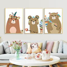 Canvas Poster Cute Indian Style Animal Deer Bear Fox Art Nursery Prints Cartoon Painting Wall Picture Nordic Baby Bedroom Decor недорого