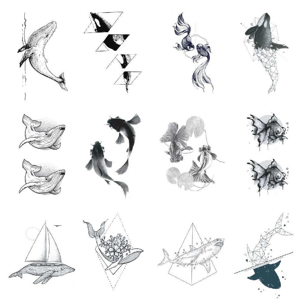 Etiqueta temporária da tatuagem do golfinho da baleia dos peixes cinzentos geometria à prova dwaterproof água peixinho meninas meninos arte do corpo 10.5x6cm