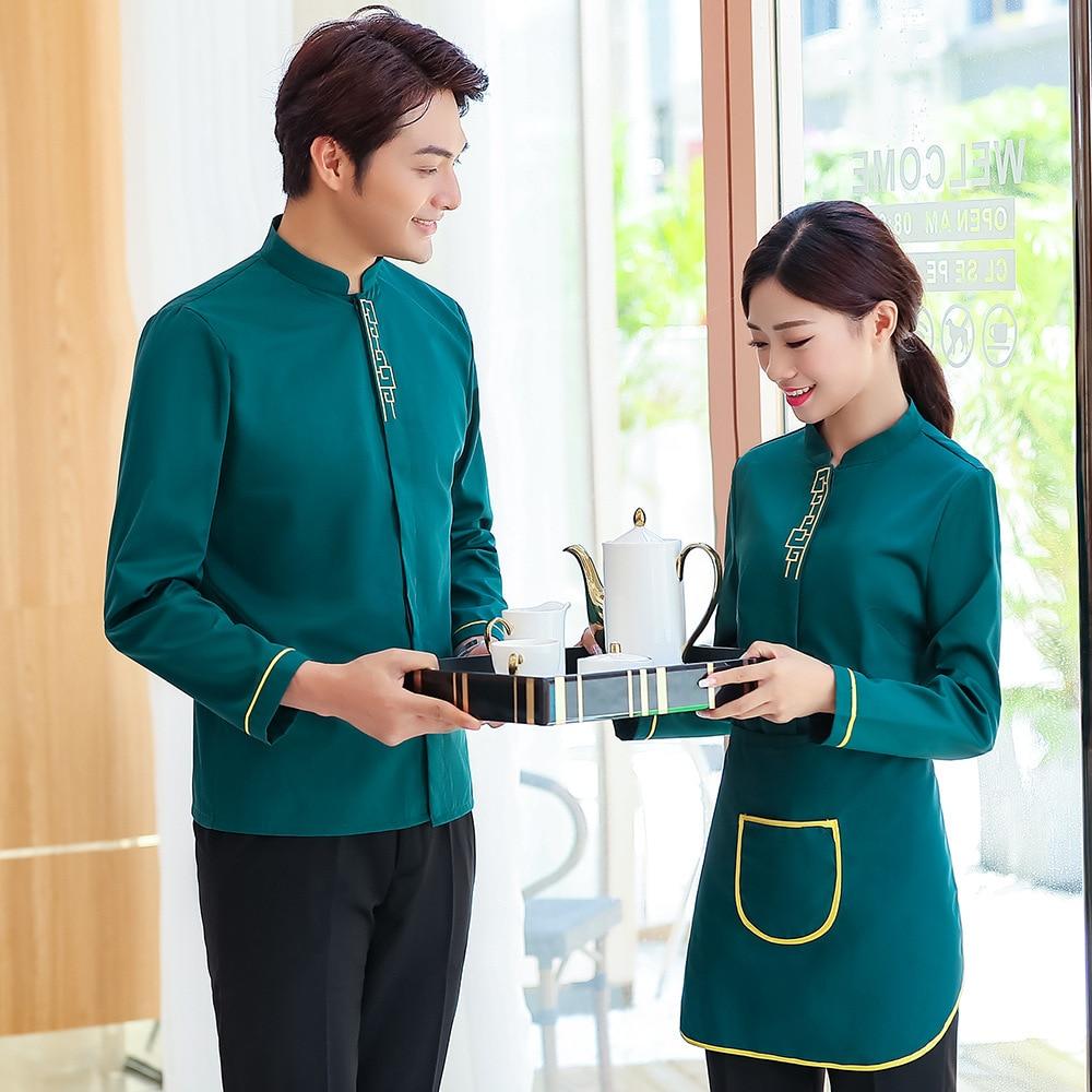 Униформа официанта для ресторана с длинным рукавом, униформа официантки для отеля, униформа официантки для женщин, китайский ресторан