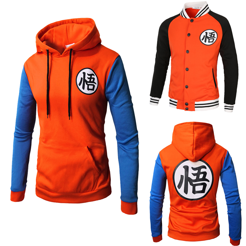 Dragon Ball Costume Kakarotto Son Goku Hoodie Cosplay Chinese Characters Wu Printing Sweatshirts Men's Casual Hooded Sweater