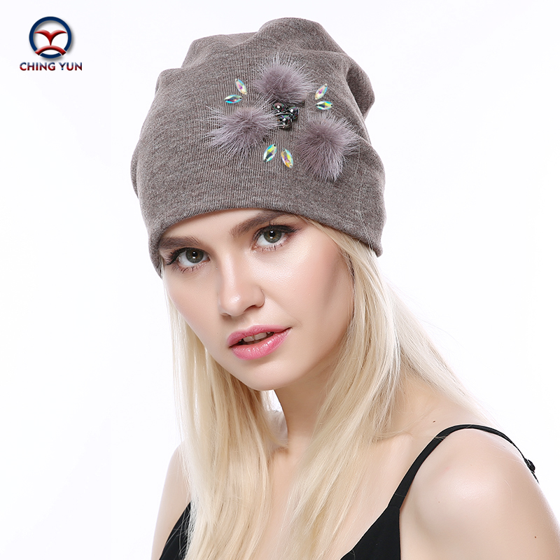 CHINGYUN 2019new Cashmere Knit Hat Soft Winter Warm High Quality Female Solid Color Knitted Hat Exquisite Real Plush Decoration