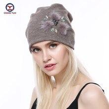 CHINGYUN 2019new kaşmir örgü şapka yumuşak kış sıcak yüksek kaliteli kadın düz renk örme şapka zarif gerçek peluş dekorasyon