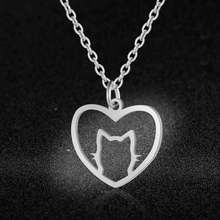 AAAAA Quality 100% Stainless Steel Heart Cat Charm Necklace for Women Super Fashion Charm Jewelry Fashion Charm Necklaces(China)