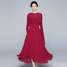 Red Black Dress Suits Women Two Piece Set Chiffon Elegant Cape Blazer Long Dresses Female Spring Summer Formal Party Vestidos(China)