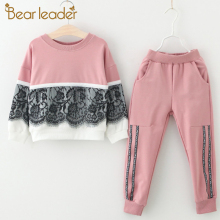 Bear Leader Winter Girls Clothing Sets 2016 New Active Boys Children Cartoon Print Sweatshirts+Pants Suit