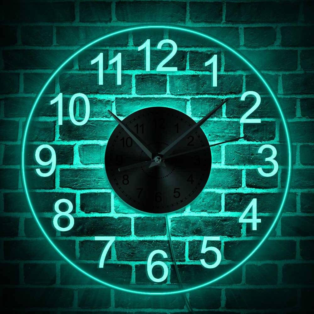 Algarismos árabes led iluminado relógio de parede