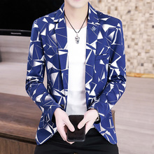2021 Spring and Autumn New Printed blazer Youth Slim Fit Casual British Handsome    blazers