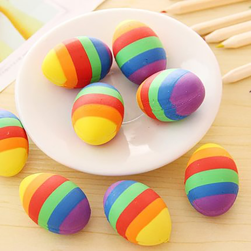1PC Colorful Egg Shape Eraser Cute Pencil Erasers Student Stationery Primary School Office Supplies Kids Prize Reward Gift