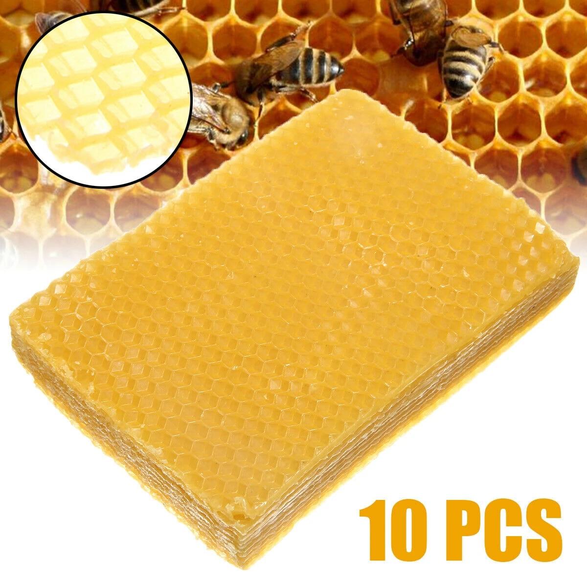 10x Yellow Honeycomb Wax Frames Beekeeping Foundation Honey Bee Hive Equipment