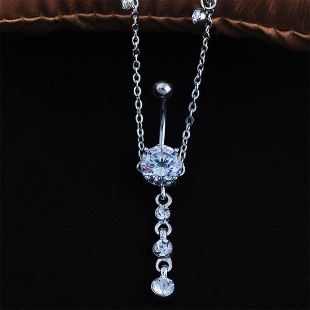 Women Sexy Rhinestone Dangle Belly Button Chain Navel Piercing Ring Body Jewelry Waist Chain Button Puncture Jewelry 2