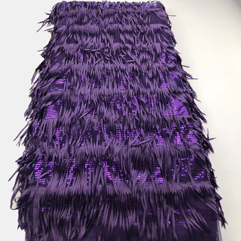 6colors Fashion purple African tassels lace fabric French net lace fabric with shining sequins for gorgeous party dress  FLH009