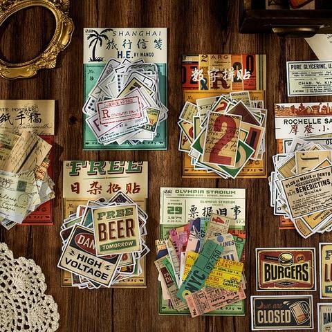 20 jogos lote kawaii papelaria adesivos retro passado bill diy artesanato scrapbooking album diario lixo