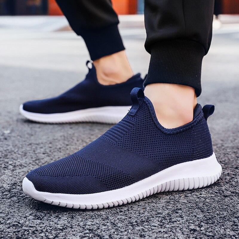 Primavera tênis homens sapatos casuais sapatos de malha de ar para homens mocassins preto moda tênis masculino formadores sapato masculino