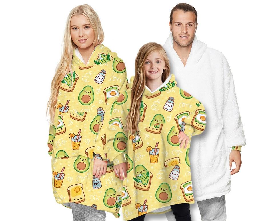 אבוקדו מודפס גדול הסווטשרט שמיכת למבוגרים ילדי חיצוני Hoody סווטשירט מעילים שרפה סוודר Hoody שמיכה