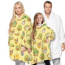Gran aguacate impreso Sudadera con capucha sofá manta para niños adultos al aire libre Sudadera con capucha Sherpa abrigos cómodo Jersey