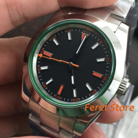 39mm Bliger Black Dial Sapphire Glass Romantic Sweet gifts Top Brand Automatic Movement men's Watch