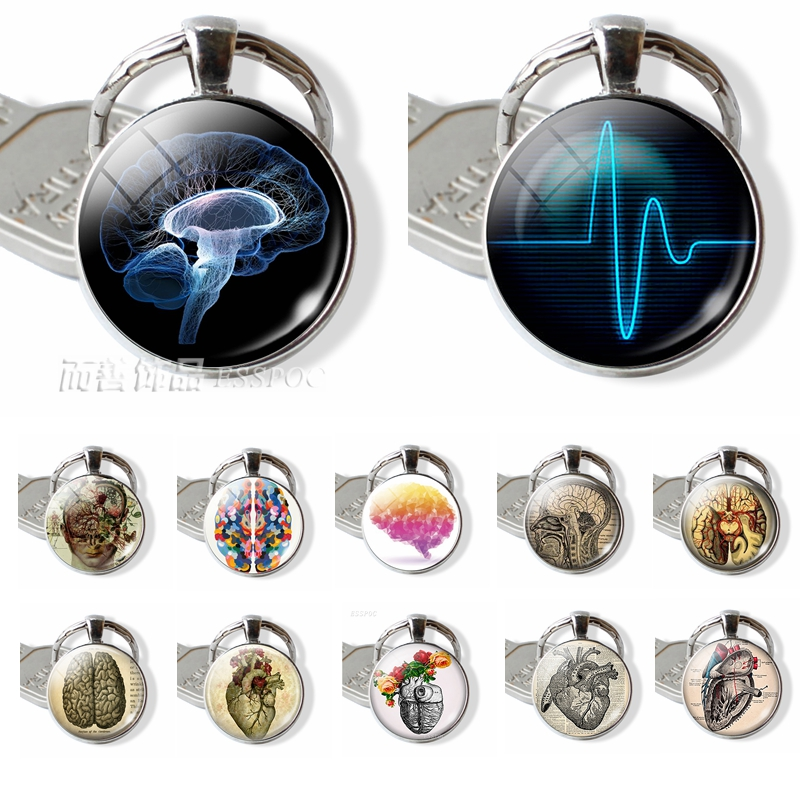 Heartbeat Sign Pendant Anatomical Heart Keychain Glass Cabochon Jewelry Silver Metal Key Chain Ring Men Doctors Halloween Gift