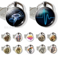 Heartbeat Sign Pendant Anatomical Heart Keychain Glass Cabochon Jewelry Silver Metal Key Chain Ring Men Doctors Halloween Gift татуировка переводная heartbeat