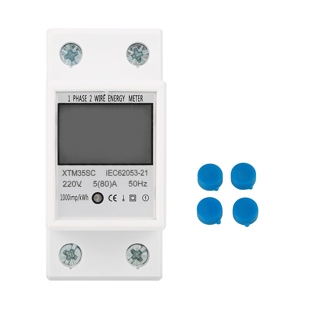 220V <font><b>5</b></font>(80)A Digital <font><b>1</b></font>-Phase <font><b>2</b></font> Wire 2P DIN-Rail Electric Meter Electronic KWh Meter Class <font><b>1</b></font> Accuracy XTM35SC With Manual image