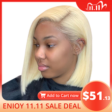 613 Lace Front Wig Brazilian Blonde Short Bob Lace Front Human Hair Wigs For Black Women 13x1x6 T Part Transparent Lace Wig