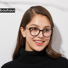 High quality  bauhaus shaped round Acetate glasses frame men Retro eyeglasses women myopia reading eyewear Oculos De Grau