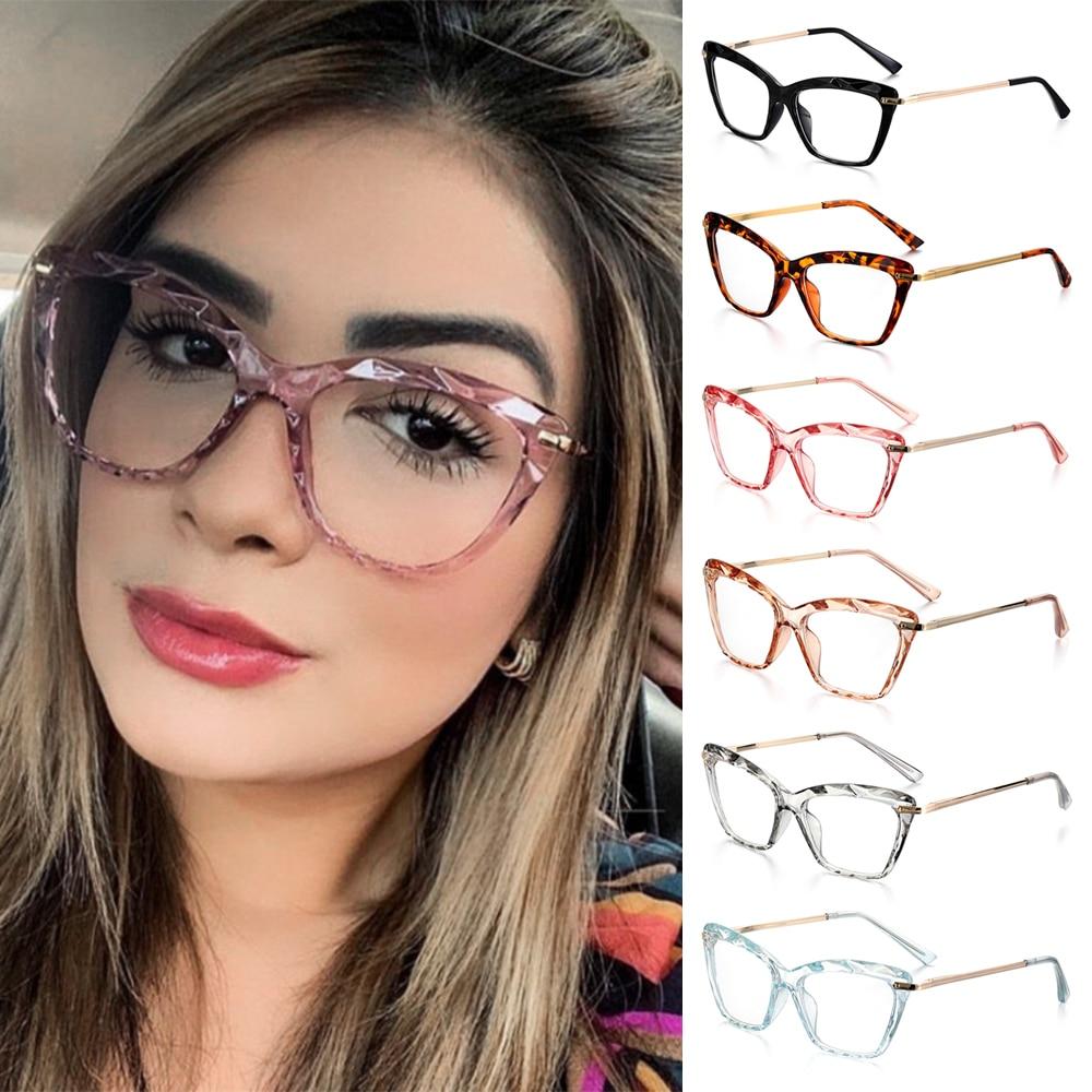 Женская модная квадратная оправа для очков в стиле кошачьи глаза граненые хрустальные очки могут быть оснащены очками для близорукости вин...
