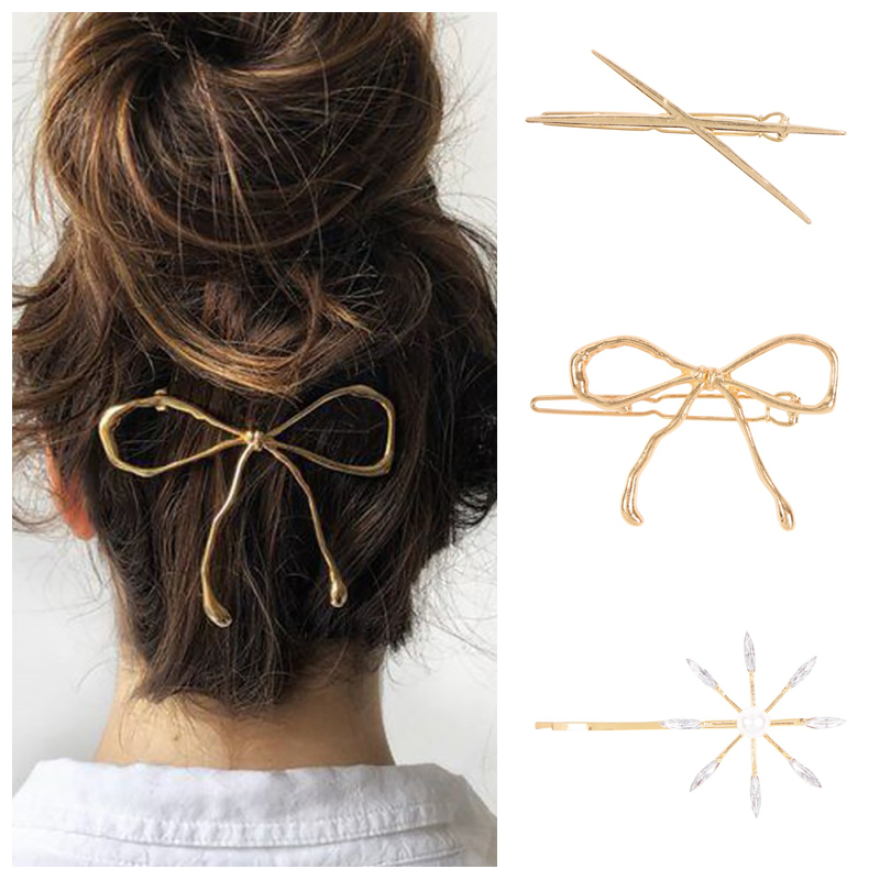 Bow Metal Hair Clip Pin Female Bowknot Tiara Hair Cross Simulated Pearl Barrette Gold Hairpins Simple Hair Accessories Headpiece