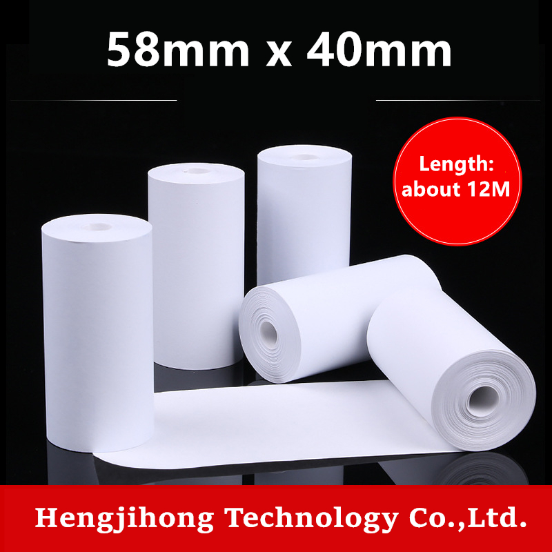 Thermal Paper 58 x 40 mm No Core Free 10 Rolls Super Long Mobile Bluetooth Cash Register Paper Roll