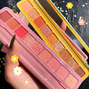 9Color Sweet Pink Shiny Pearlescent Eyeshadow Palette Glitter Shimmer Matte Pigmented Metallic Makeup Eyeshadow Pallete Cosmetic недорого