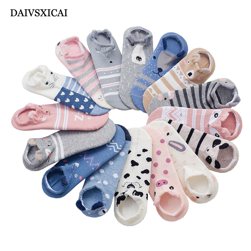 5pairs/lot=10pieces Sock Short Girl Summer Shallow Mouth Cartoon Cotton Female Invisible Socks Cute Animal Sock Woman