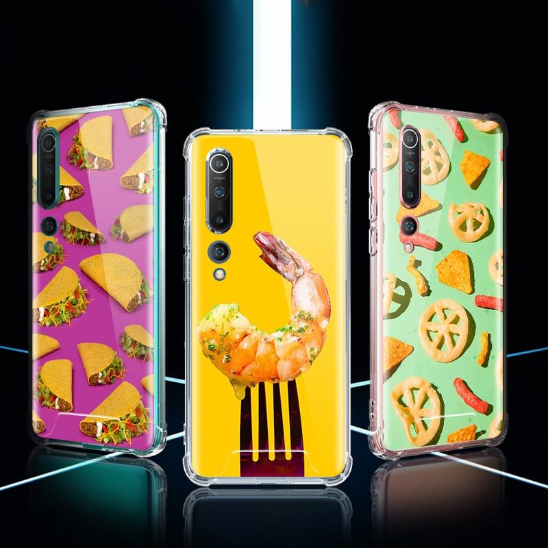 Food Wallpaper Case For Xiaomi Mi Note 10 9 CC9 9T Pro 5G CC9E A2 Lite X2 Airbag Anti Fall TPU Phone Coque