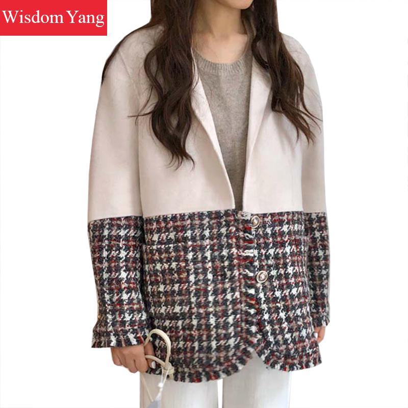Winter Autumn Tweed Coats Womens White Sheep Wool Cashmere Suit Coat Outerwear Camel Jackets Clothes Short Overcoat Woollen Coat