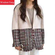 Winter Autumn Tweed Coats Womens White Sheep Wool Cashmere Suit Coat Outerwear C