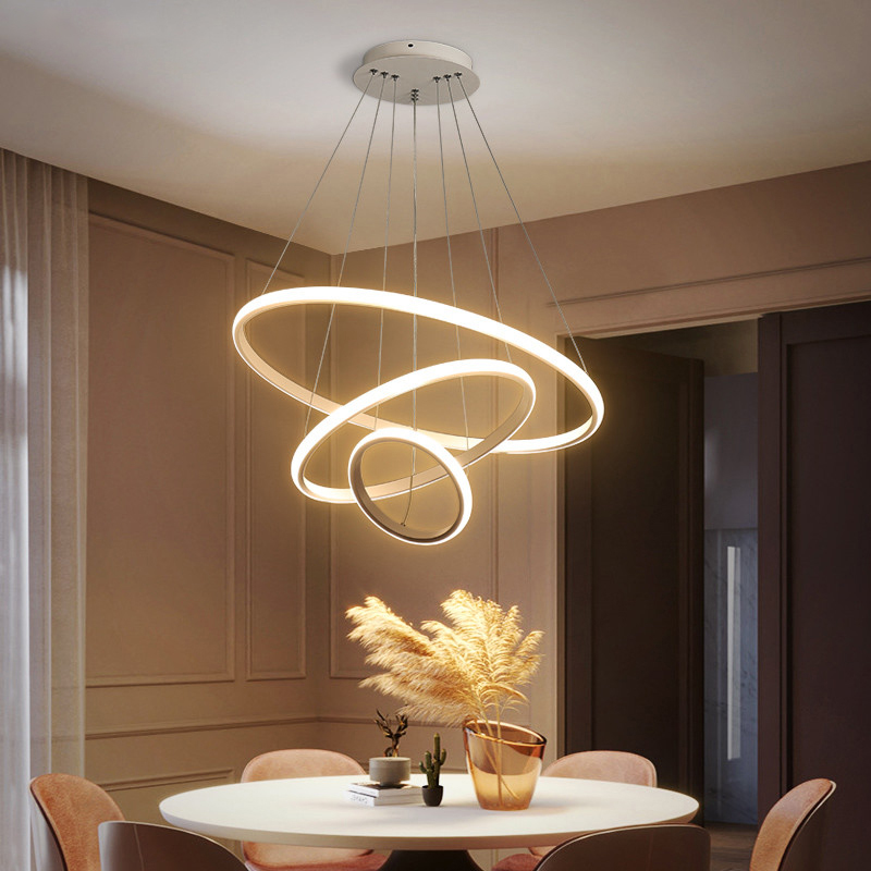 Modern chandelier ring led ceiling circle black chandelier attic living room dining room kitchen interior lighting